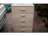 PALE OAK STYLE 5 DRAWER CHEST OF DRAWERS