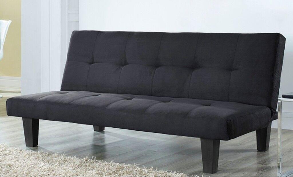 Dark Suede Micro Fabric 3-Seater Sofa Bed