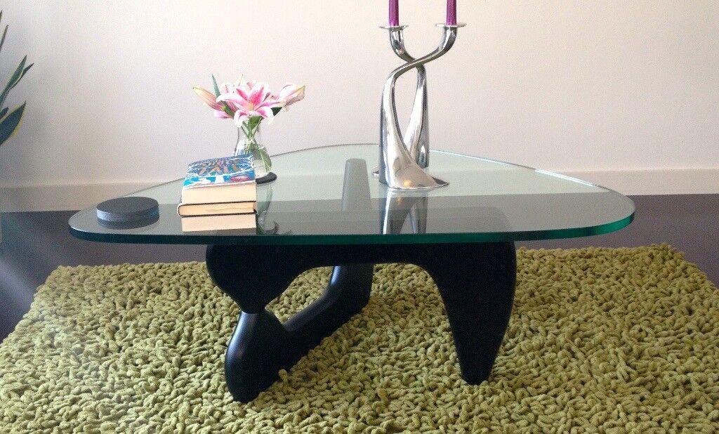 Isamu Noguchi Style Black Ash Gl Coffee Table Compact Size 108cm By 73 5cm
