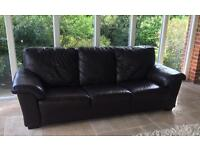 3 & 2 seater brown leather sofa's and footstool