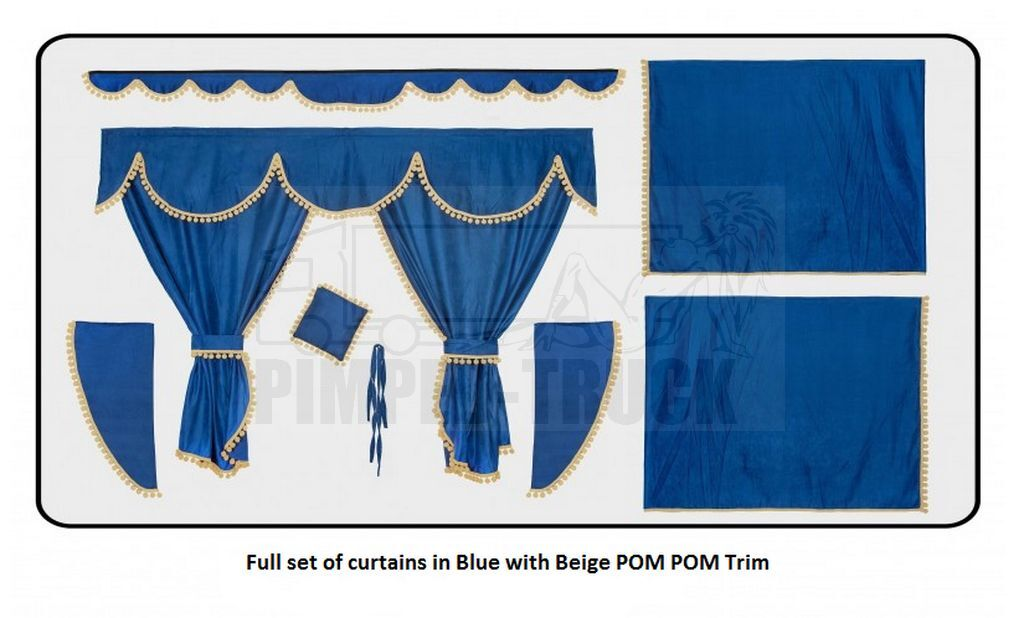 Full Set Of Lined Truck Curtains In Blue Ebay