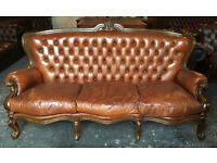 Tan leather Loius XV Chesterfield 3 seater sofa