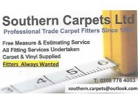 Self Employed Carpet and Vinyl Fitters wanted for SW, SE, London Work