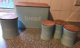 5 Piece Wooden Lid Storage Set - Blue
