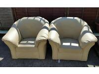 Cream White Faux Leather Single Sofas