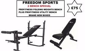 PROFITNESS FOLDING WEIGHTS BENCH WITH PROFITNESS UTILITY BENCH BOTH BRAND NEW BOXED £75