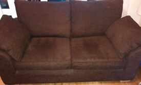 2 brown matching sofas