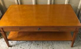 Solid wood coffee table with drawer and shelf