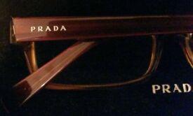 PRADA Glasses: Original (Unisex):Classic Brown Tortoise Shell Frame: Oblong Lens: Sunglasses & Case