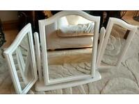 White wooden triple dressing table mirror
