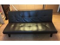 Faux leather sofa bed reclining futon