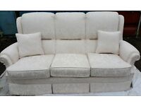 Vale Bridgecraft - Only Eight Months Old Three Seater Sofa with Rise and Recline Chair