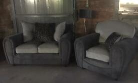 New grey 2 seater sofa and armchair - furniture village - can deliver