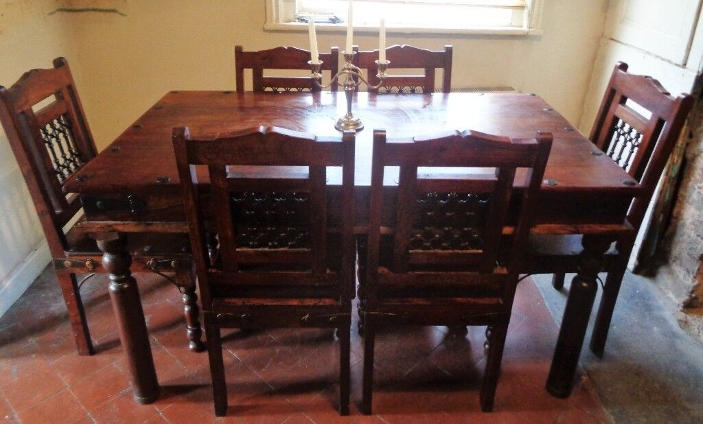 Solid Hardwood Dining Table And 6 Chairs Indian Furniture Jali Sheesham