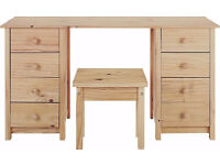 Brand new solid pine dressing table and stool