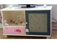 Tv cabinet stand unit table eye catching solid shabby chic £30