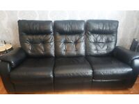 LOW COST Black Leather Sofa   3 Seater   Recliner