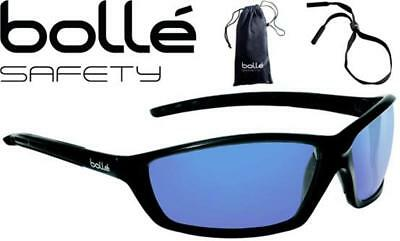 Bolle Solis 40064 Safety Glasses Blue Mirror Lens Cord And Case Included
