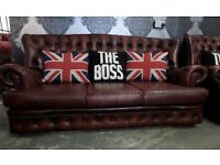 Stunning Chesterfield Oxblood Red Leather 3 Seater Sofa Settee Vintage High Back UK Delivery