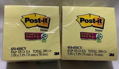 Post-it Super Sticky Notes 3 X 3 Canary Yellow 6 Padspk - 2 Pack 12 Pads