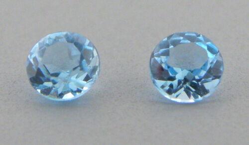 4mm MATCHING PAIR ROUND CUT NATURAL LOOSE SWISS BLUE TOPAZ