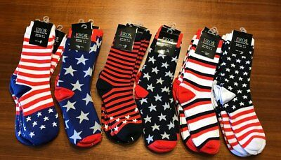 Patriotic Women's Crew Socks in Red, White,Blue, Stars and Stripes Size 9-11 NWT