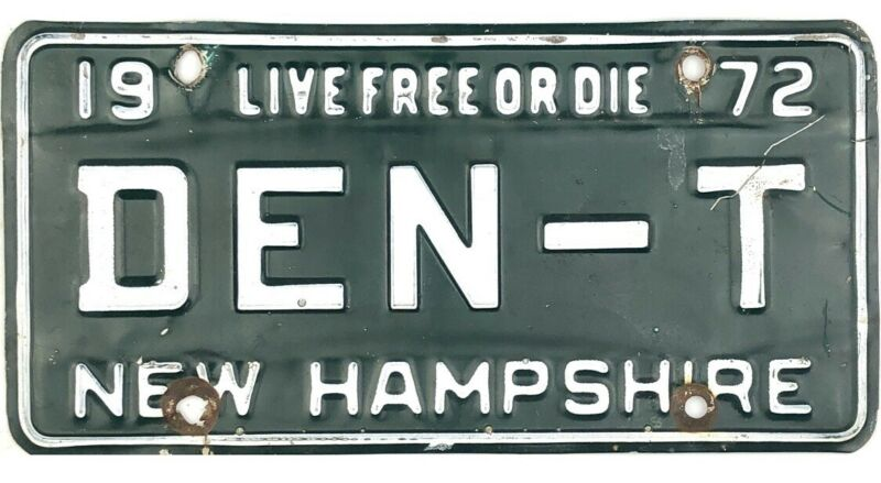 1972 New Hampshire Vanity License Plate #DEN-T DENT