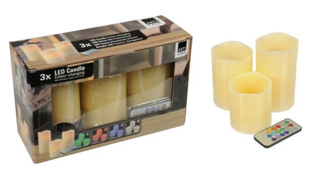 3 Battery Flameless Electric Wax Scented Colour Changing Flickering Led Candles