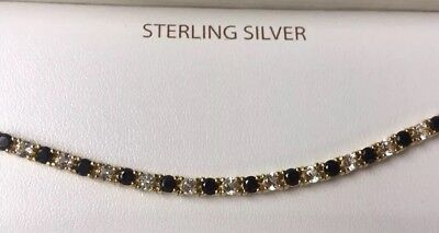 Blue Sapphire White Topaz Tennis Bracelet 18K Gold Over Sterling Silver $200 NIB