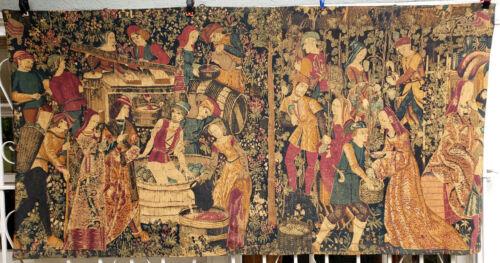 A Middle Ages Style Tapestry Wine Harvest