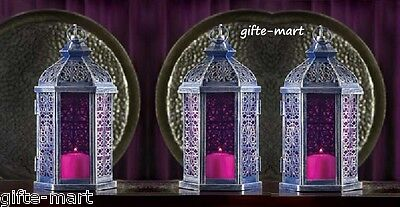 3 Lot Purple Moroccan Candle Holder Lantern Lamp Wedding Party Table Centerpiece