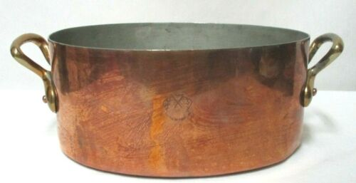 """Helvetia Copper Pot Oval made in England Swedish Brand Vintage 8"""" x 3.7"""""""