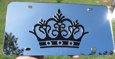 Mirrored Acrylic License Plate - Crown on Silver Custom Mirrored License Plate Laser Cut acrylic inlaid Queen