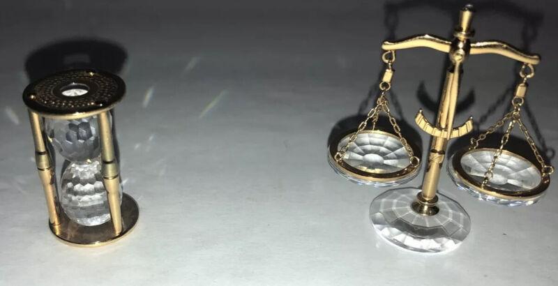 Swarovski Crystal Figurines Miniature Hour Glass,Scale/Justice,Pendant Necklace