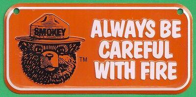 USFS US Forest Service Smokey Bear Orange Bicycle Bike License Plate Metal Sign