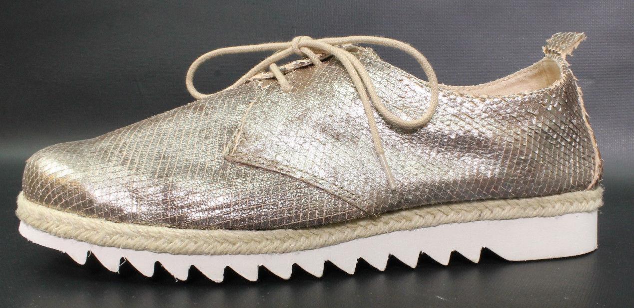 Caprice Damen Schuhe Gr.40 Modell Oxford Espadrille Halbschuh Gold Metallic Neu