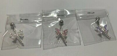 Sterling Silver Belly Button Jewelry Dragonfly with Rhinestone Lot 3 PCS