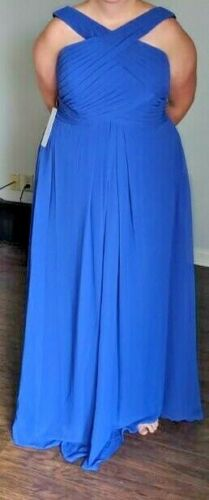 Azazie Kaleigh Size A18 Royal Blue; new with tags.  Chiffon Bridesmaid / formal