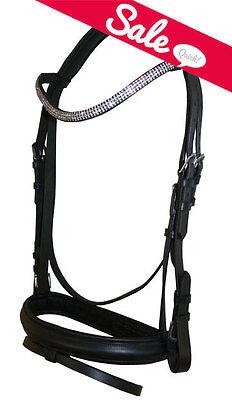 Pony Dressage Bridle - NEW Pony English Dressage Show Bridle Clear Crystal U Curve Shape Browband Bling