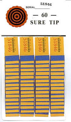 One  # 60  Sure Tip Board (1-60) Raffle/Jar Tickets Free Shipping USA