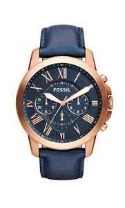 Fossil Men's FS4835 Grant Chronograph Leather Watch-Rose Gold-To
