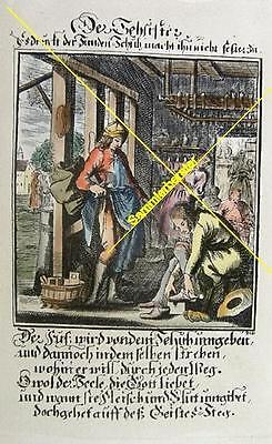 Alter kolorierter Stich Berufe: Der Schuster (20133)
