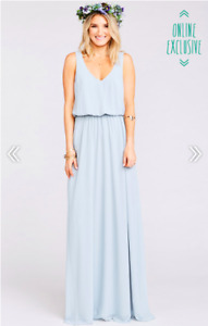 Show Me Your Mumu Kendall Maxi Dress in Steel Blue Chiffon