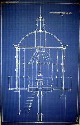Lighthouse Lens Print USLHS First Order Lantern & Lens 1852  Plan 13 x 21 (239)
