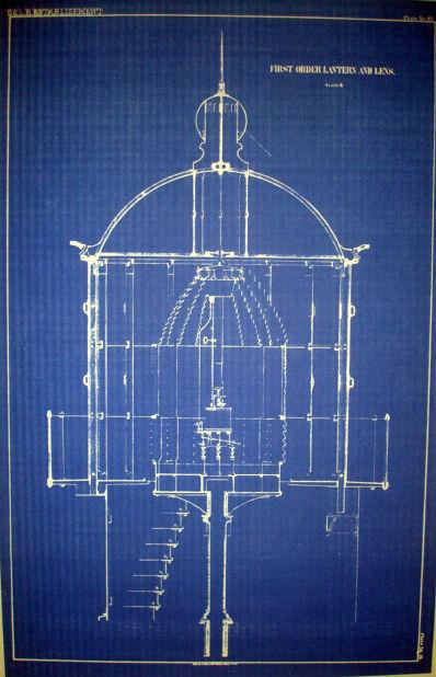 Lighthouse Lense Print USLHS First Order Lantern & Lens 1852  Plan 13 x 21 (239)