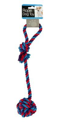 """Knotted Rope Toy with Ball - handle - 14"""" - dog puppy chew teething pull - USA"""