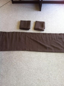 3 BROWN WINDOW VALANCES