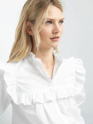 (Gap Women's NWT Ruffle Trim Shirt Size XSmall Petite Color White)