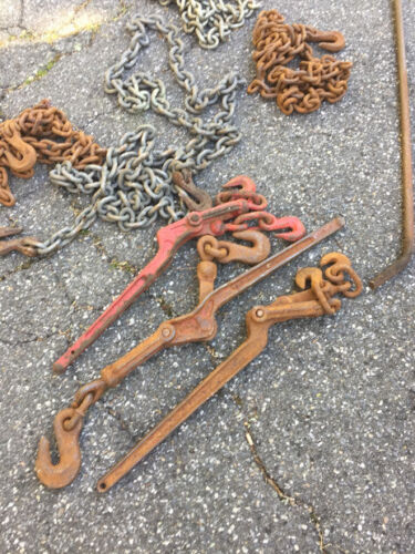 """4 Sections Of 3/8"""" Chain, 3 Chain Binders And Truck Strap Tie Down Bar"""
