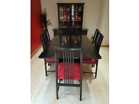 Dining Table + 6 chairs & sideboard with glass display cabinet
